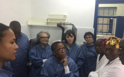 Michèle Boccoz, the French health ambassador in charge of HIV and communicable diseases visits the CePRef laboratory, a key partner of OPP-ERA project in Ivory Coast