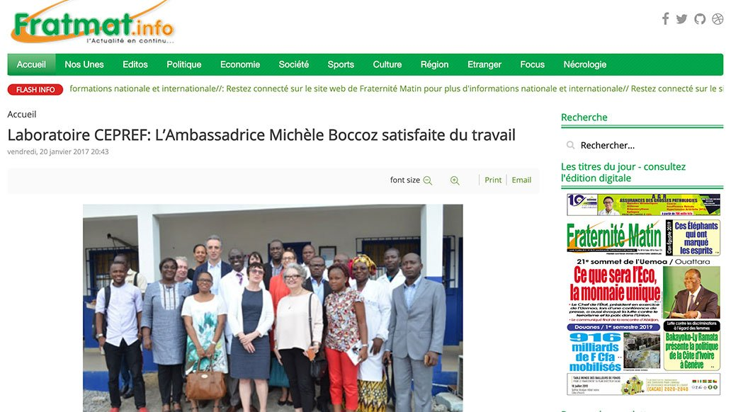 Fratmat, 2017: CEPREF Laboratory: Health Ambassador Michèle Boccoz satisfied with the work