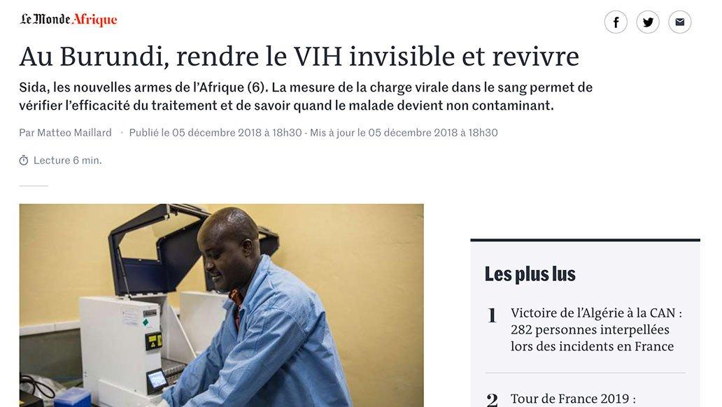 Le Monde, 2018 :  Au Burundi, rendre le VIH invisible et revivre